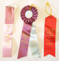 3 Vintage 1970s Satin Ribbons-Art Show Festival-CO Pottery-T.S. Berger-Taged