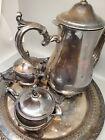 VERY OLD Coffee/Tea Pot Creamer Sugar Tray Handled Silverplate  VINTAGE