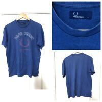 Fred Perry Blue T Shirt Mens Size Large L Short Sleeve (C386)