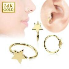 """14KT Solid Yellow Gold Nose Ring Hoop 5/16"""" 7.9mm Star Daith Ear Cartilage 20G"""