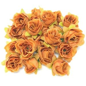 Orange Rose Bud Decorative Synthetic Flowers (Faux Silk) - UK SELLER