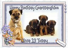 Personalised birthday card border terrier mum sister daughter grandaughter d