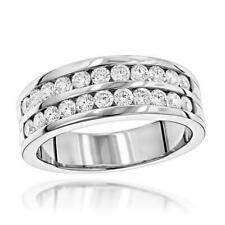 Brilliant 1.20Ct White Round Diamond Channel Set Men's Ring 925 Sterling Silver
