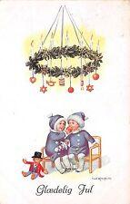 BG14893 children with toy candle fir branch christmas  glaedelig jul denmark