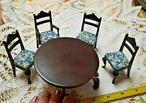 VINTAGE MAHOGANY WOODEN ROUND KITCHEN DINING ROOM TABLE 4 FOUR FLORAL CHAIRS LOT