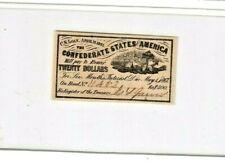 "$20 1800'S (Rare) ""Confederate States Of America"" $20 1800'S (Bond) Crispy!"