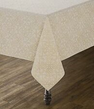 """Southern Living Gold Metallic Scroll Tile-Print Table Cloth 60"""" X 104"""" Oblong"""