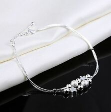 Women Fashion 925 Sterling Silver Stars Beads Chain Bangle Ankle Wrist Bracelet