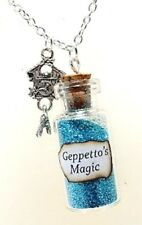 Magic fairy tale Geppetto Pinocchio necklace with glass bottle magical glitter