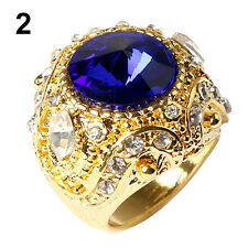Men Unique Design Luxury Resin Crown Gold Plated Alloy Ring Jewelry Size 7-10