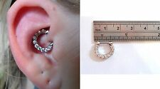 Surgical Steel Clear Crystal Hoop Barbell Daith Jewelry 14 gauge 14g