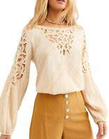 Free People Womens Blouse White Ivory Size XS Crochet Smocked Hem $148 120