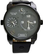 Omax N004M92A Men's XL Oversized Triple Time Zone Black IP Analog Strap Watch