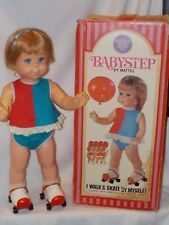 Vintage Mattel Baby Step Doll Works W/Skates & Box