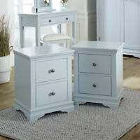 Grey bedside table bedroom furniture lamp table storage cabinet chest 2 drawer