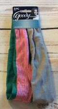 Goody Ouchless Headbands 2 Piece-Gray Green With Pink & Gray Stripes NEW