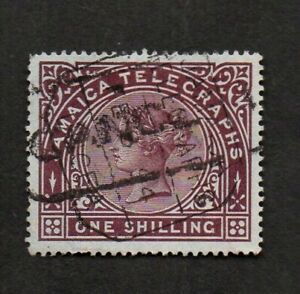 """Jamaica, 1/- telegraph stamp, Queen Victoria, with """"CANCELLED"""" cancel."""