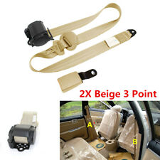 2x Beige Iron Plate style Car Adjustable Retractable 3 Point Safety Seat Belts