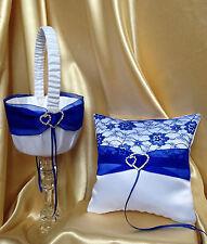 WHITE&ROYAL BLUE WEDDING RING PILLOW& BOW&FLOWER GIRL BASKET/19x19cm/7.5''x7.5''