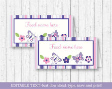 Pink & Purple Butterfly Buffet Tent Cards & Place Cards Editable PDF