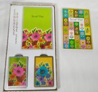 Bridge Set and Score Pad Floral Design Congress Cards Vintage