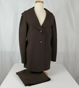 Talbots Womens Two Piece Skirt Suit Size 12 Brown Wool Drape Collar Two Button