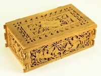 ^ Antique American Folk Art Carved Die-Cut Wood Deed Box, Rustic Treenware