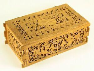 ^ Antique American Folk Art Carved Die-Cut Wood Deed Box, Rustic Treenware