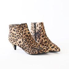 Leoard Faux Suede Ankle Boots Booties Pointy Toe Kitten Heel