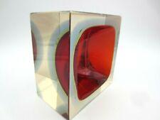 Murano Multi sommerso Rosso Ambra Blu Mattone Blocco Mandruzzato Art Glass Bowl