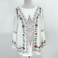 Umgee White Floral Embroidered Blouse Women's Size S Boho Bohemian Bell Sleeves