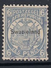 SWAZILAND 1889 SG6 6d blue of Transvaal opt 'Swaziland'  used. Catalogue £60