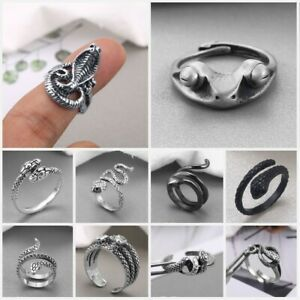 Retro 925 Silver Women Men Animal Ring Personality Adjustable Jewelry Open Size