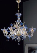 Lampadario in Vetro di murano 1001/8 Cristallo Oro Blu - Montatura Oro 24k