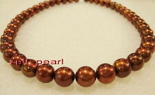 "AAAAA 18""10-11mm round REAL south sea NATURAL Chocolate  pearl necklace 14K gold"