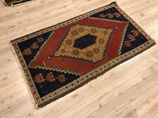 Decorative Turkish Handmade Small Rug, Traditional Vintage Tribal Faded Area Rug