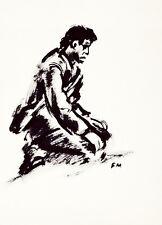 Frans MASEREEL Der Trauernde Le soldat en deuil 2. Weltkrieg Tusche 1940er Jahre