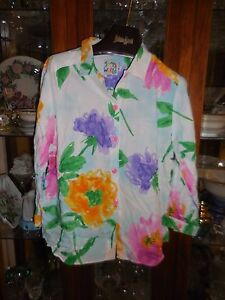 Jams World FAB S  New NWT SKY FLOWER Top Shirt 3/4 Sleeve White Floral OOP