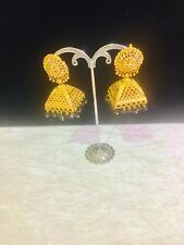 Indian Gold Plated Jumka Jumki With Black Beads Earrings Bollywood Style Uk Sell