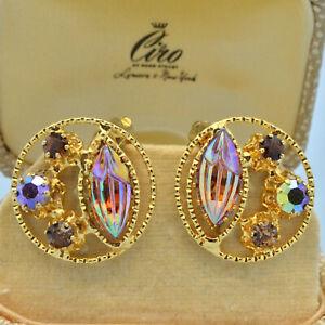 Vintage Earrings 1950s Austrian Amber Art Glass & Crystal Goldtone Jewellery