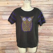 CREMIEUX Womens Owl Sweater Small Grey Purple Shortsleeved Cotton Blend