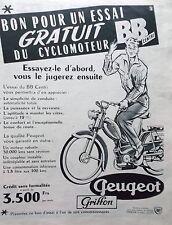 PUBLICITE   CYCLOMOTEUR BB CENTRI   PEUGEOT  ANNEE 1959    REF  9191