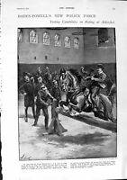 Old Antique Print 1900 Baden-Powell Police Alderhot Horses Gneisenau Ship 20th