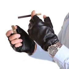 man fashion short fingerless real leather gloves black