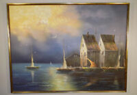 """A. Frankun signed Sailboats in Harbor oil painting 37"""" x 49"""" Lee Reynolds era"""