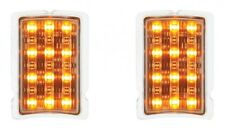 Pair (2) LED Turn Signal & Parking Light (1940 Ford Passenger Car Front Amber)