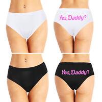 Damen Slip 'Yes Daddy' Druck Bikini Briefs Baumwolle Unterwäsche Panties Sexy