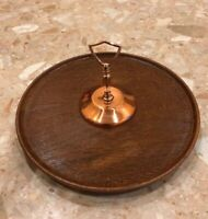 Vintage Mid Century Lazy Susan Revolving Serving Tray Faux Brown Wood Copper