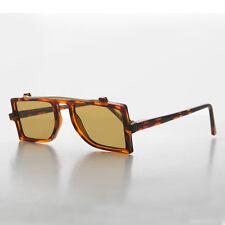 Grunge Safety Flat Top Vintage Sunglasses Tortoise /Brown - FLASH