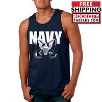 NAVY STENCIL TANK TOP United States Military USNAVY Logo U.S. Shirt Sleeveless